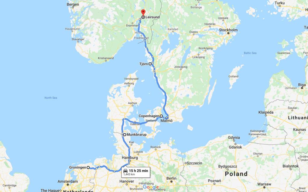 Groningen-Munkbrarup-Copenhagen-Tjörn-Leirsund